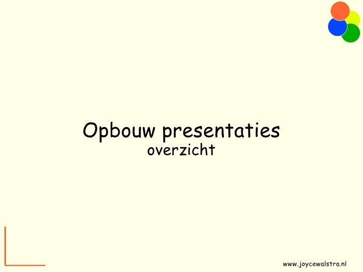 Opbouw presentaties overzicht