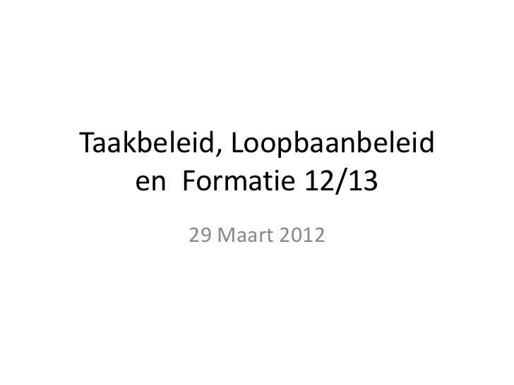 Taakbeleid, Loopbaanbeleid    en Formatie 12/13        29 Maart 2012