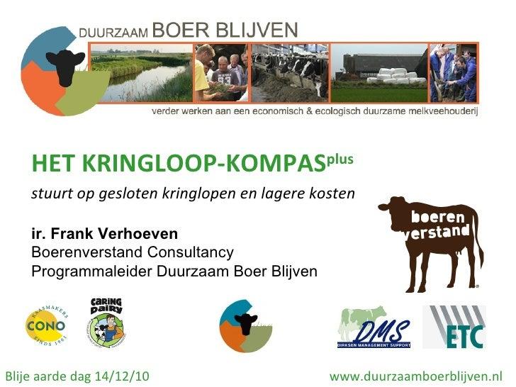 HET KRINGLOOP-KOMPAS plus stuurt op gesloten kringlopen en lagere kosten ir. Frank Verhoeven  Boerenverstand Consultancy P...