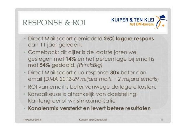 RESPONSE & ROI • Direct Mail scoort gemiddeld 25% lagere respons dan 11 jaar geleden. • Comeback: dit cijfer is de laats...