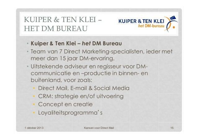 KUIPER & TEN KLEI – HET DM BUREAU • Kuiper & Ten Klei – het DM Bureau • Team van 7 Direct Marketing-specialisten, ieder ...