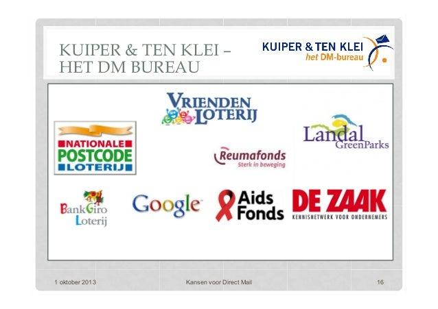 1 oktober 2013 Kansen voor Direct Mail 16 KUIPER & TEN KLEI – HET DM BUREAU