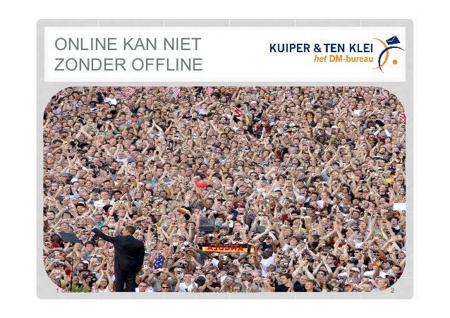 ONLINE KAN NIET ZONDER OFFLINE 1 oktober 2013 Kansen voor Direct Mail 2