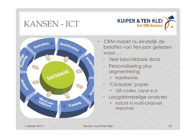 KANSEN - ICT • CRM maakt nu eindelijk de beloftes van tien jaar geleden waar … • Veel beschikbare data • Personaliserin...