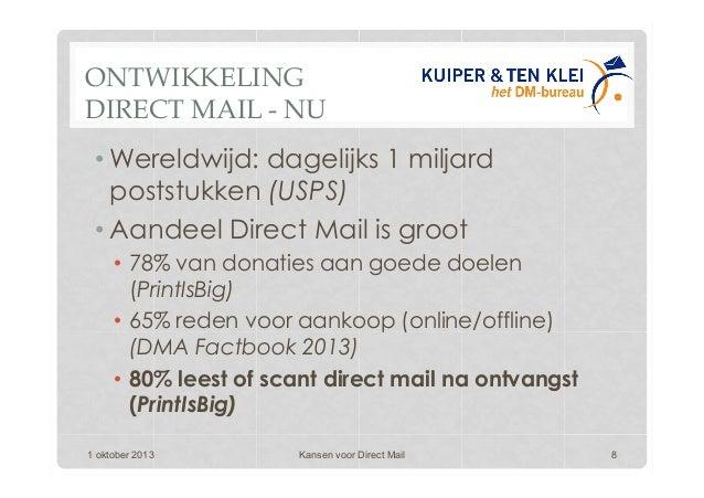 ONTWIKKELING DIRECT MAIL - NU •Wereldwijd: dagelijks 1 miljard poststukken (USPS) •Aandeel Direct Mail is groot • 78% v...