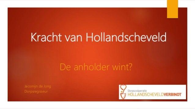 Kracht van Hollandscheveld De anholder wint? Jacomijn de Jong Dorpsregisseur