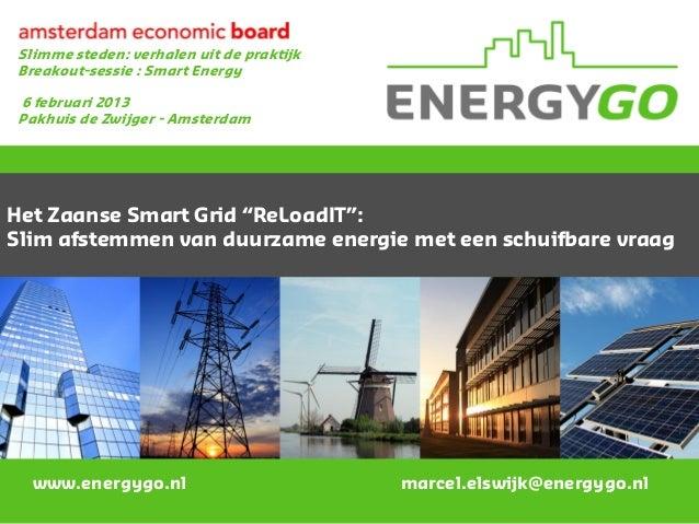 Slimme steden: verhalen uit de praktijkBreakout-sessie : Smart Energy6 februari 2013Pakhuis de Zwijger - AmsterdamHet Zaan...