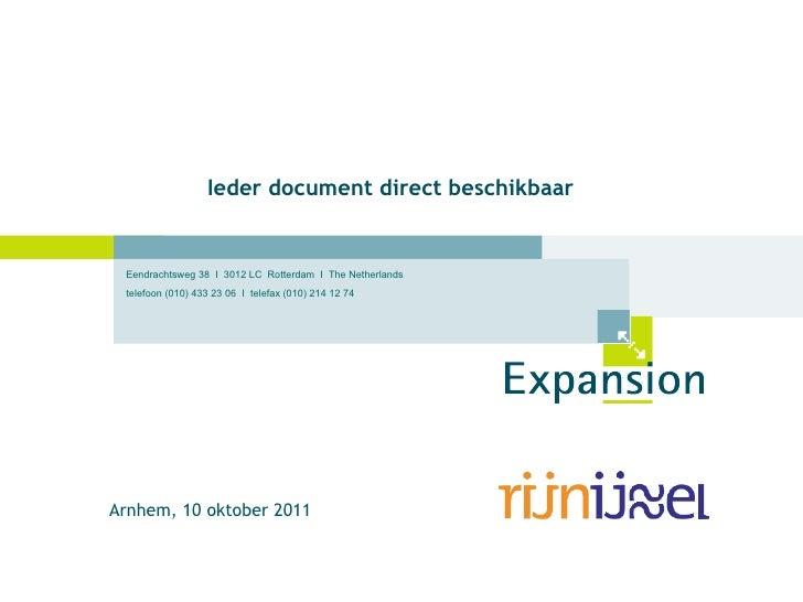 Ieder document direct beschikbaar Arnhem, 10 oktober 2011