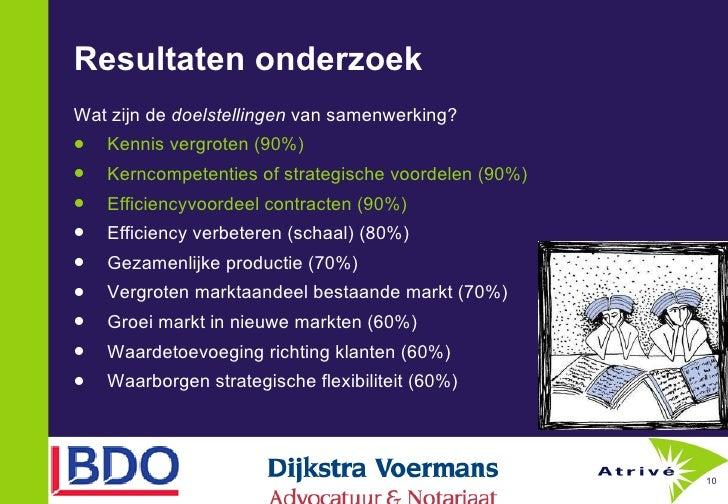 Resultaten onderzoek  <ul><li>Wat zijn de  doelstellingen  van samenwerking? </li></ul><ul><li>Kennis vergroten (90%) </li...
