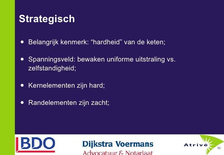 """Strategisch <ul><li>Belangrijk kenmerk: """"hardheid"""" van de keten;  </li></ul><ul><li>Spanningsveld: bewaken uniforme uitstr..."""