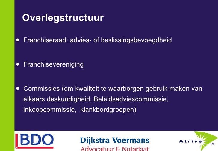 Overlegstructuur <ul><li>Franchiseraad: advies- of beslissingsbevoegdheid </li></ul><ul><li>Franchisevereniging </li></ul>...