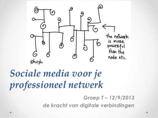 Sociale media voor je professioneel netwerk Groep T – 12/9/2013 de kracht van digitale verbindingen