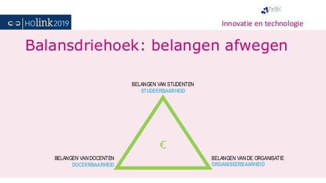 Innovatie en technologie Balansdriehoek: belangen afwegen € BELANGEN VAN DOCENTEN DOCEERBAARHEID BELANGEN VAN STUDENTEN ST...