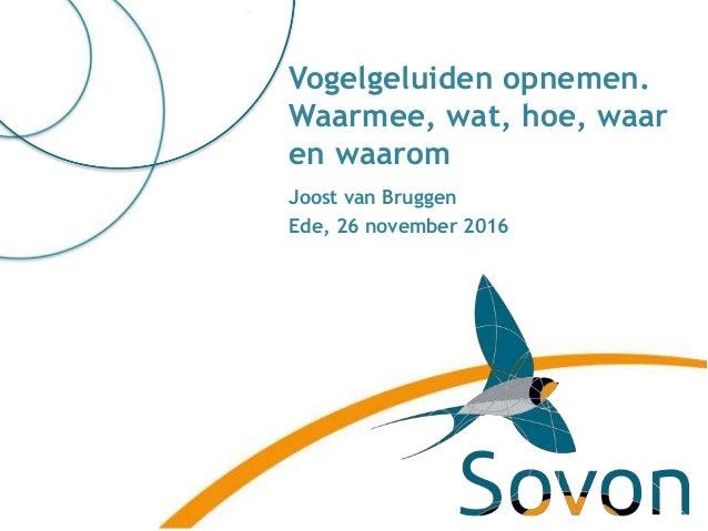 Joost van Bruggen Ede, 26 november 2016 Vogelgeluiden opnemen. Waarmee, wat, hoe, waar en waarom