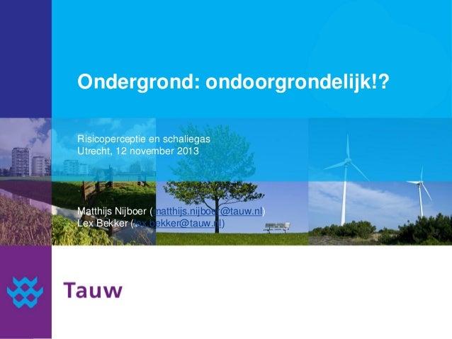 Ondergrond: ondoorgrondelijk!? Risicoperceptie en schaliegas Utrecht, 12 november 2013  Matthijs Nijboer (matthijs.nijboer...