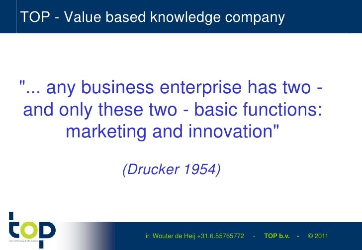"""TOP - Value based knowledge company<br />""""... any business enterprise has two - and only these two - basic functions: mark..."""
