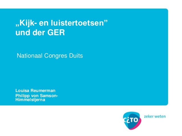 """Louisa Reumerman Philipp von Samson- Himmelstjerna """"Kijk- en luistertoetsen"""" und der GER Nationaal Congres Duits"""