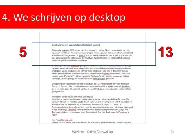 4. We schrijven op desktop Workshop Online Copywriting 24
