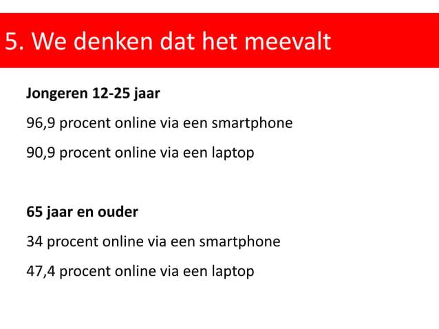 5. We denken dat het meevalt Jongeren 12-25 jaar 96,9 procent online via een smartphone 90,9 procent online via een laptop...