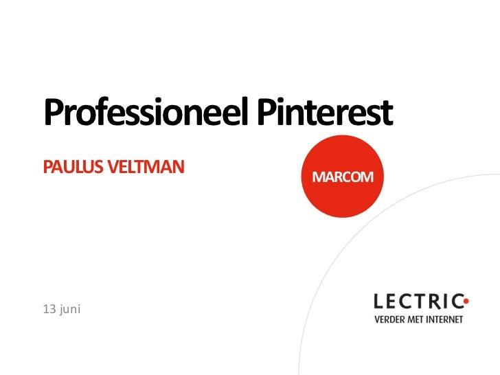 Professioneel PinterestPAULUS VELTMAN   MARCOM13 juni