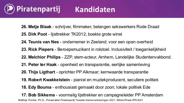 Kandidaten Matthijs Pontier, Ph.D., Presentatie Piratenpartij Tweede Kamerverkiezingen 2021. #StemPiraat #TK2021 26. Metje...