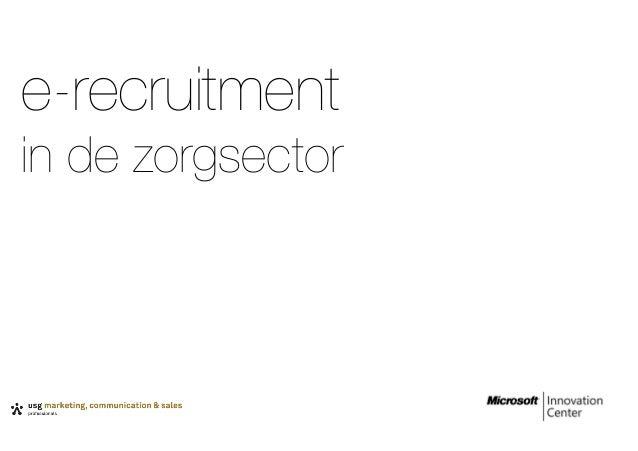 e-recruitment in de zorgsector