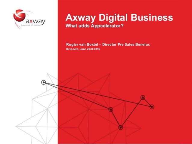 10 Axway Digital Business What adds Appcelerator? Rogier van Boxtel – Director Pre Sales Benelux Brussels, June 23rd 2016