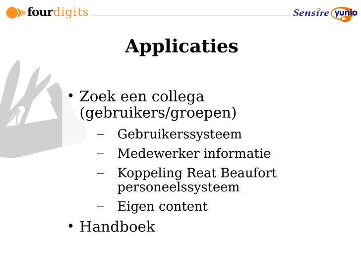 Applicaties       Zoek een collega     (gebruikers/groepen)       –   Gebruikerssysteem       –   Medewerker informatie  ...