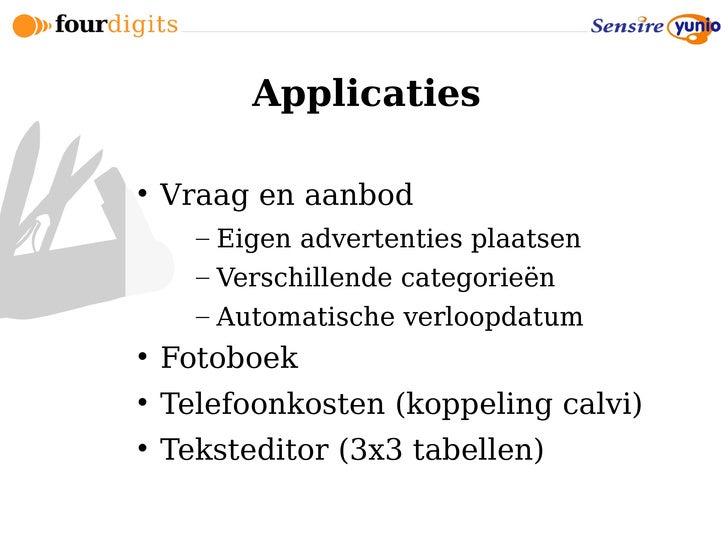 Applicaties       Vraag en aanbod       – Eigen advertenties plaatsen       – Verschillende categorieën       – Automatis...