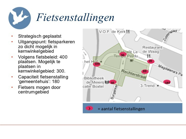 Fietsenstallingen <ul><li>Strategisch geplaatst </li></ul><ul><li>Uitgangspunt: fietsparkeren zo dicht mogelijk in kernwin...