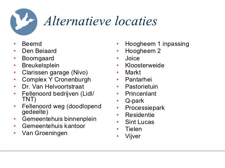 Alternatieve locaties <ul><li>Beemd  </li></ul><ul><li>Den Beiaard  </li></ul><ul><li>Boomgaard </li></ul><ul><li>Breukels...