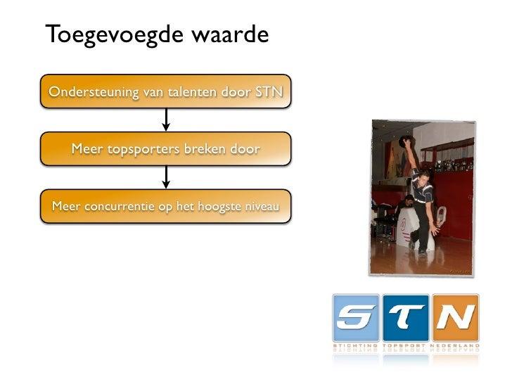 Toegevoegde waarde  Ondersteuning van talenten door STN      Meer topsporters breken door   Meer concurrentie op het hoogs...