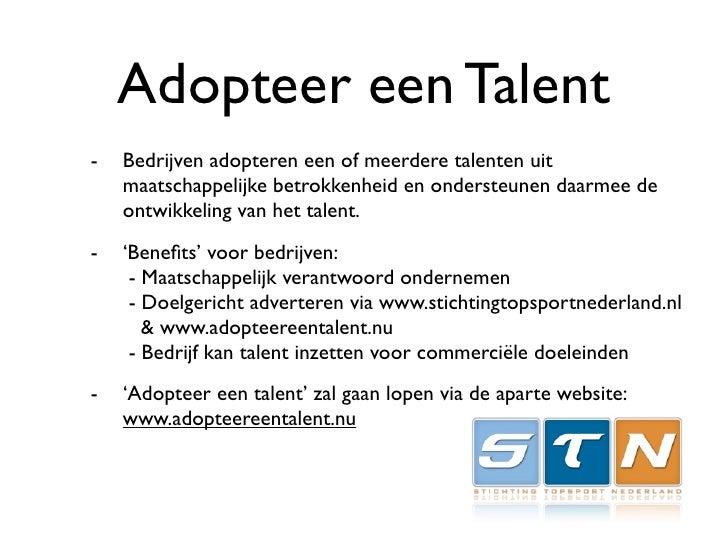 Adopteer een Talent -   Bedrijven adopteren een of meerdere talenten uit     maatschappelijke betrokkenheid en ondersteune...