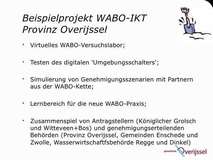 Beispielprojekt WABO-IKT Provinz Overijssel  Virtuelles WABO-Versuchslabor;   Testen des digitalen 'Umgebungsschalters';...