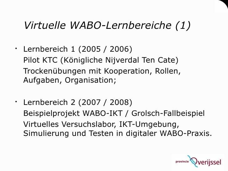 Virtuelle WABO-Lernbereiche (1)   Lernbereich 1 (2005 / 2006)   Pilot KTC (Königliche Nijverdal Ten Cate)   Trockenübunge...