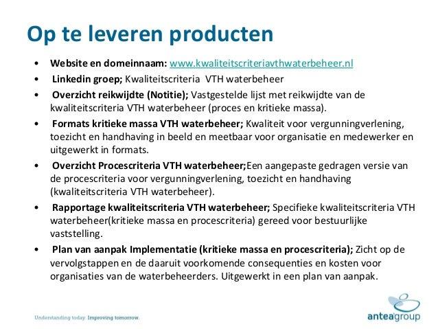 plan van aanpak website Presentatie toelichting plan van aanpak kwaliteitscriteria vth waterb… plan van aanpak website