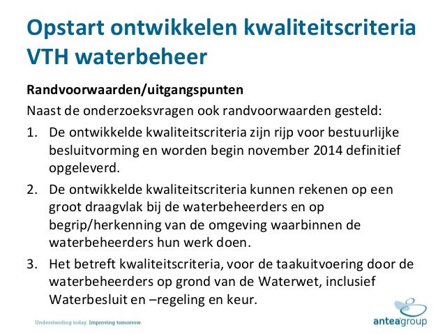 Presentatie toelichting plan van aanpak kwaliteitscriteria vth waterb…