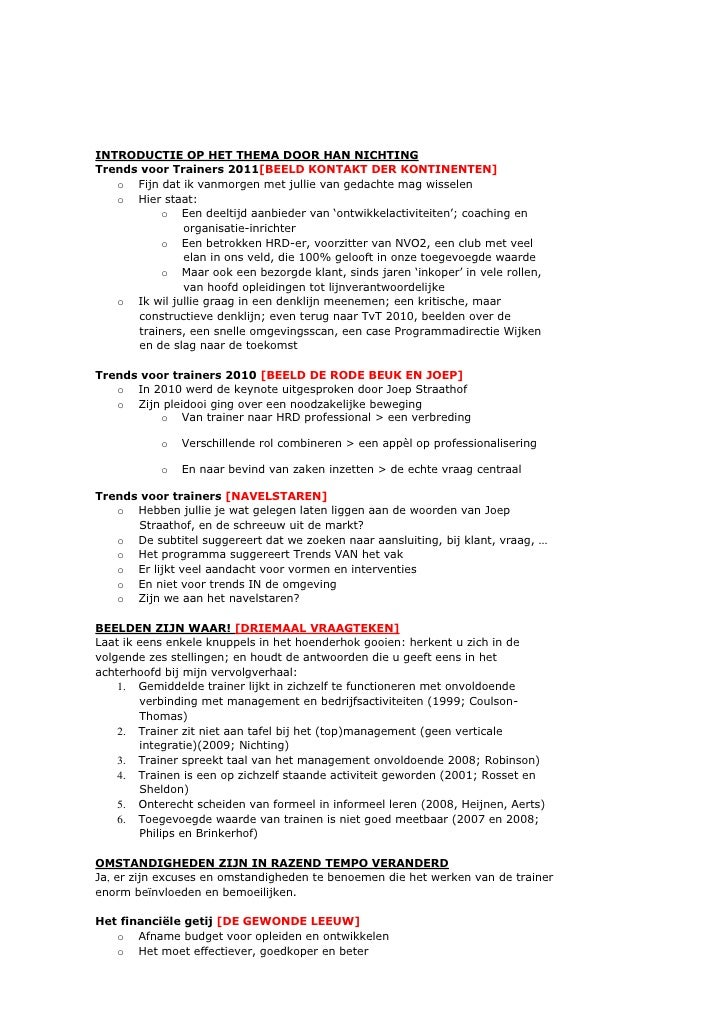 INTRODUCTIE OP HET THEMA DOOR HAN NICHTING<br />Trends voor Trainers 2011[BEELD KONTAKT DER KONTINENTEN]<br /><ul><li>Fijn...