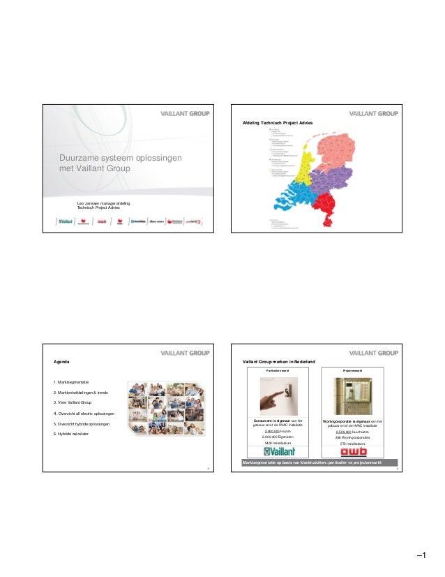 –1  Duurzame systeem oplossingen  met Vaillant Group  Leo Janssen manager afdeling  Technisch Project Advies  Afdeling Tec...