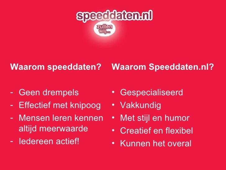 <ul><li>Waarom speeddaten? </li></ul><ul><li>Geen drempels </li></ul><ul><li>Effectief met knipoog </li></ul><ul><li>Mense...