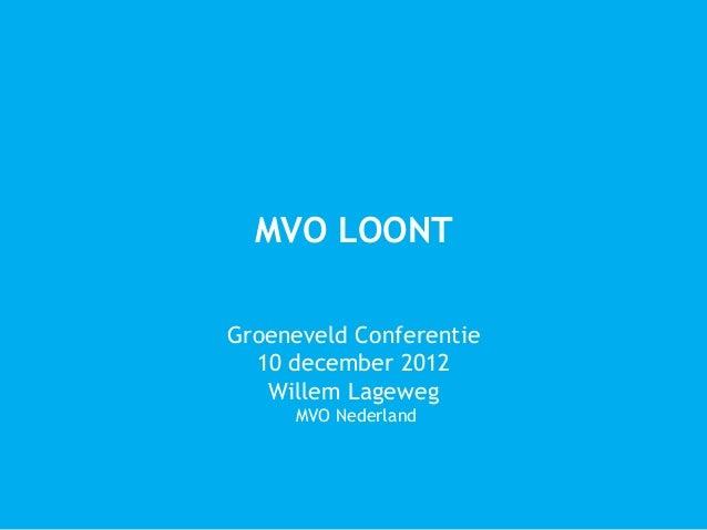 MVO LOONTGroeneveld Conferentie  10 december 2012   Willem Lageweg     MVO Nederland