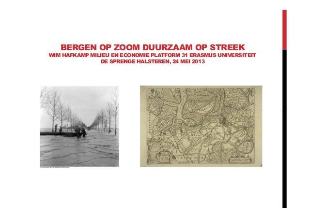 BERGEN OP ZOOM DUURZAAM OP STREEKWIM HAFKAMP MILIEU EN ECONOMIE PLATFORM 31 ERASMUS UNIVERSITEITDE SPRENGE HALSTEREN, 24 M...