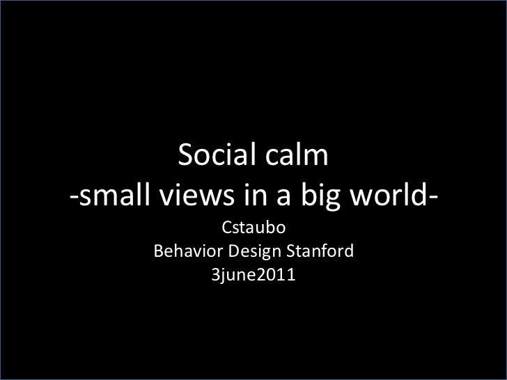 Social calm<br />-small views in a big world-<br />Cstaubo<br />Behavior Design Stanford<br />3june2011<br />