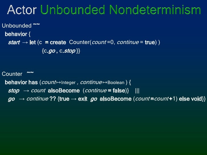 Actor Unbounded Nondeterminism<br />Unbounded ~~<br /> behavior{<br /> start -> let(c = create Counter(count =0, co...
