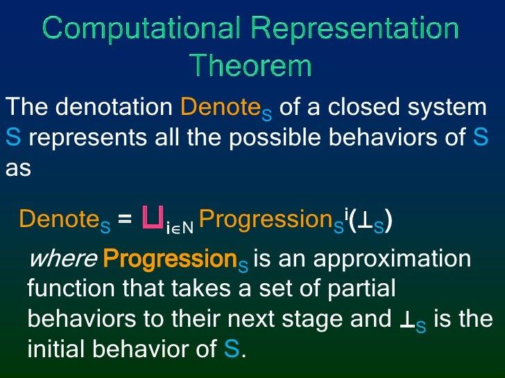 Computational Representation Theorem<br />The denotation DenoteS of a closed system Srepresents all the possible behaviors...