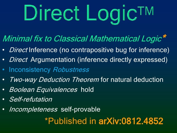 Direct LogicTM<br />Minimal fix to Classical Mathematical Logic*<br />DirectInference (no contrapositive bug for inference...