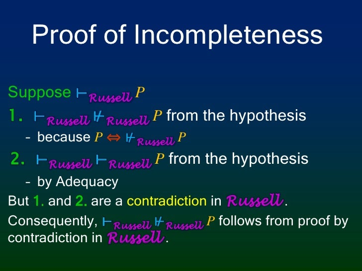Proof of Incompleteness<br />Suppose⊢RussellP<br />⊢Russell⊬RussellPfrom the hypothesis<br />becauseP ⇔⊬RussellP <br />⊢Ru...