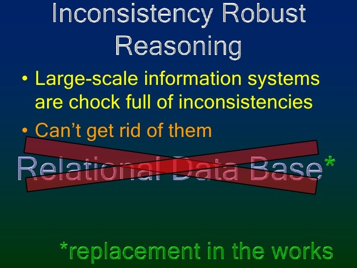 Inconsistency RobustReasoning<br />Large-scale information systems are chock full of inconsistencies<br />Can't get rid of...