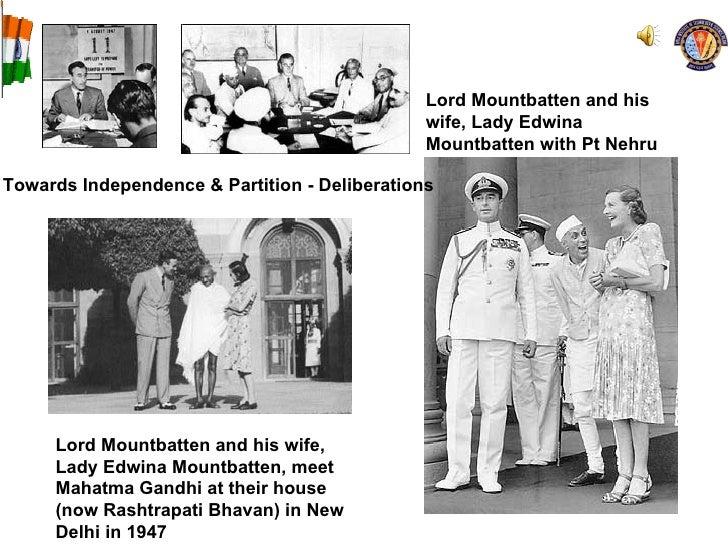 Lord Mountbatten and his wife, Lady Edwina Mountbatten, meet Mahatma Gandhi at their house (now Rashtrapati Bhavan) in New...