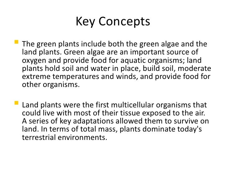 Key Concepts  The green plants include both the green algae and the   land plants. Green algae are an important source of...
